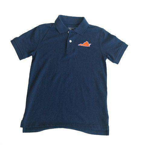 Men's Polo Shirts - Virginia Charlottesville Gameday Polo In Navy By State Traditions