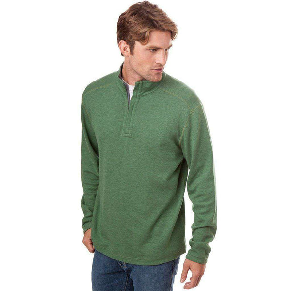 Men's Pullover - Blue Ridge Reversible 1/4 Zip Pullover In Willow And Grey By Southern Tide - FINAL SALE