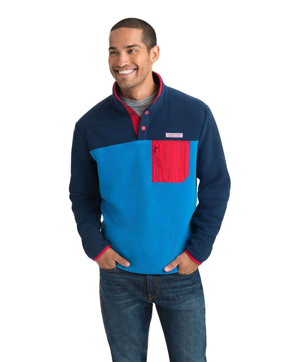 Men's Pullover - Custom Party Snap Placket Fleece In Deep Bay By Vineyard Vines - FINAL SALE
