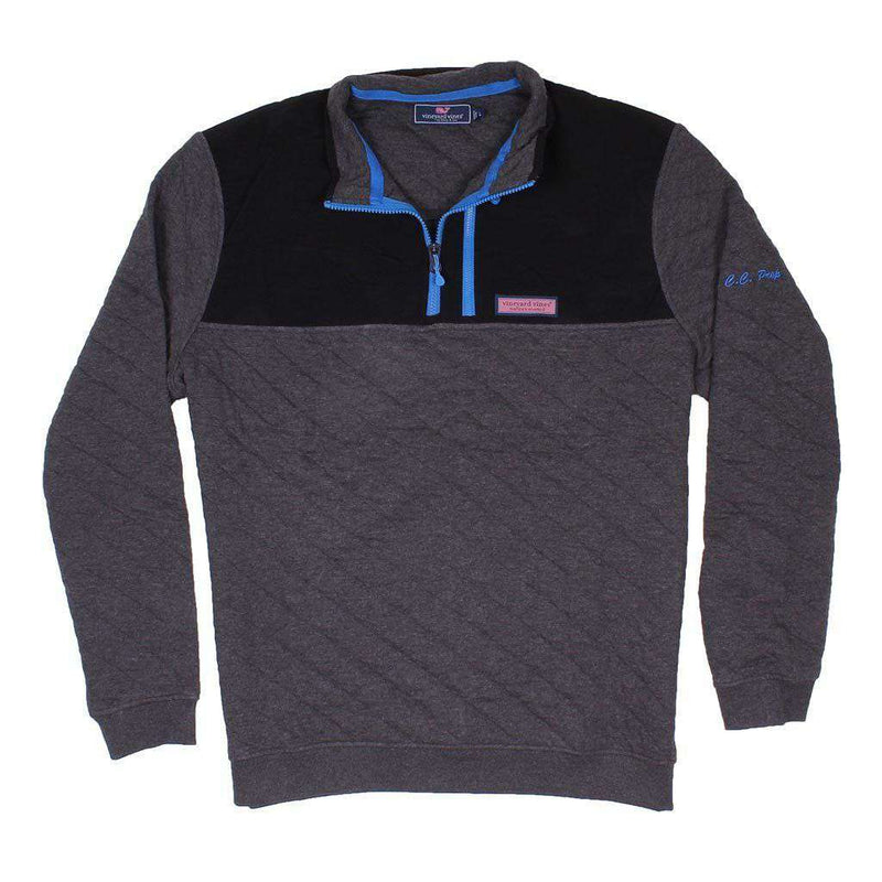 Vineyard Vines Quilted 1 4 Zip Shep Shirt In Charcoal