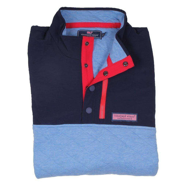 Custom Quilted Snap Placket Shep Shirt in Bimini Blue by Vineyard Vines
