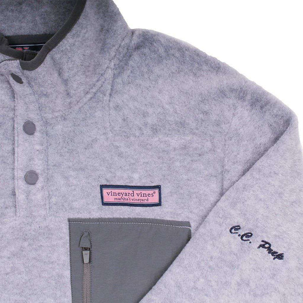 Men's Pullover - Custom Snap Placket Fleece In Gray Heather By Vineyard Vines - FINAL SALE