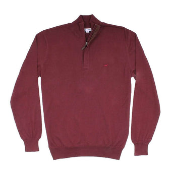 Men's Pullover - The Hayward 1/4 Zip In Wine By Southern Point Co. - FINAL SALE