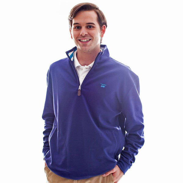 Men's Pullovers - 19th Hole Quarter- Zip Pullover In Blue By Bald Head Blues