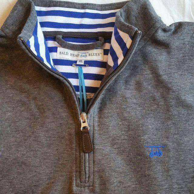19th Hole Quarter- Zip Pullover in Charcoal by Bald Head Blues