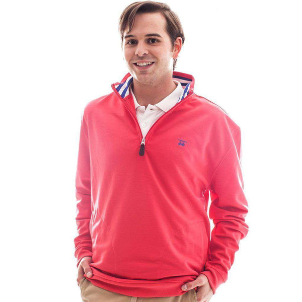 Men's Pullovers - 19th Hole Quarter- Zip Pullover In Red By Bald Head Blues