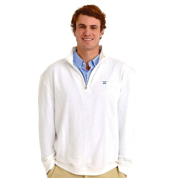 Men's Pullovers - 19th Hole Quarter- Zip Pullover In White By Bald Head Blues - FINAL SALE