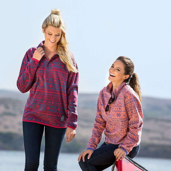 Alpine Fleece Pullover in Peach and Wharf Purple by Southern Marsh - FINAL SALE