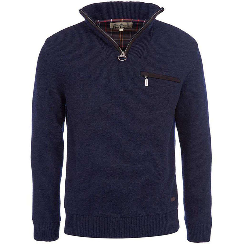 Men's Pullovers - Ayton 1/2 Pullover Zip In Navy By Barbour
