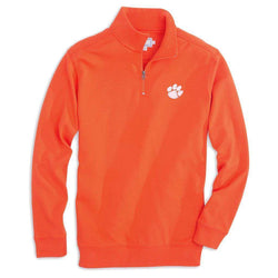 Men's Pullovers - Clemson University Gameday Skipjack 1/4 Zip Pullover In Endzone Orange By Southern Tide