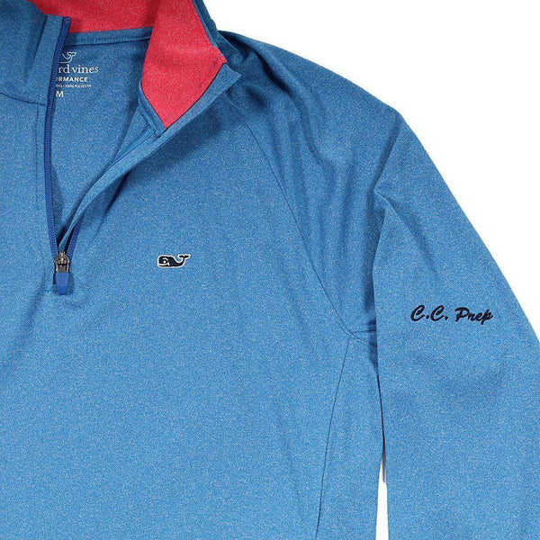Men's Pullovers - Custom Nine Mile Performance 1/4 Zip In Azure Blue By Vineyard Vines