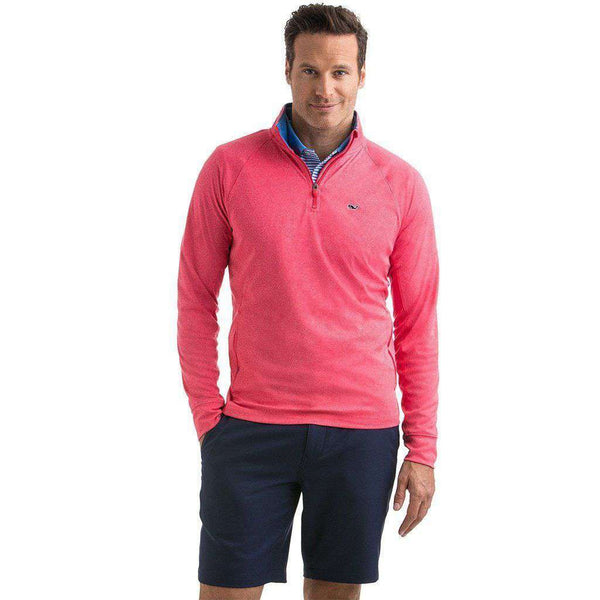 Men's Pullovers - Custom Nine Mile Performance 1/4 Zip In Coral Red By Vineyard Vines