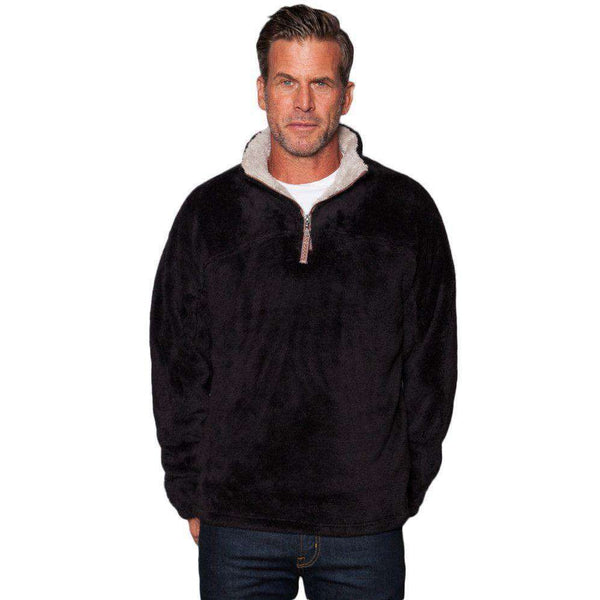 Double Plush 1/2 Zip Pullover in Black by True Grit - FINAL SALE