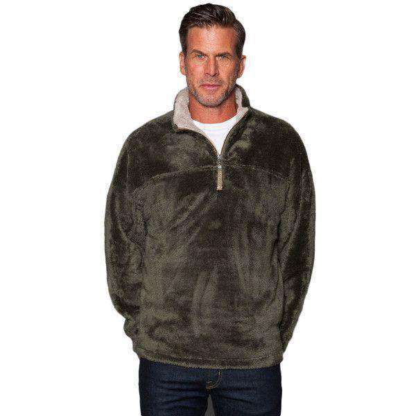 Double Plush 1/2 Zip Pullover in Cargo Grey by True Grit - FINAL SALE