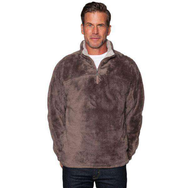 Double Plush 1/2 Zip Pullover in Vintage Brown by True Grit - FINAL SALE