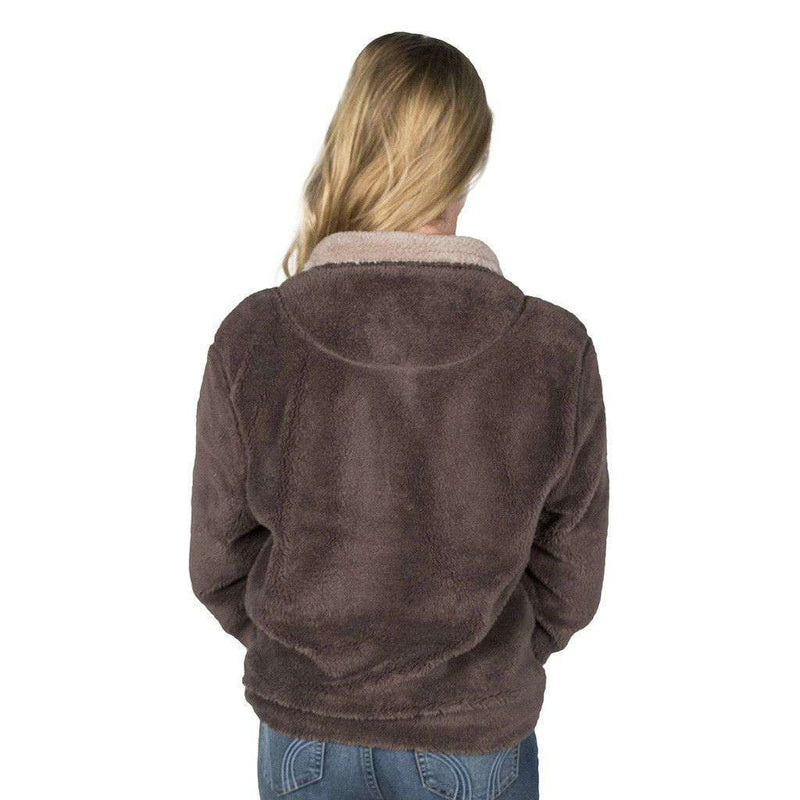 Men's Pullovers - Double Plush 1/2 Zip Pullover In Vintage Brown By True Grit