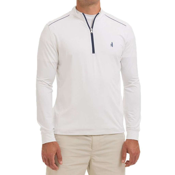 "Men's Pullovers - Lammie 1/4 Zip ""Prep-Formance"" Pullover In White By Johnnie-O"