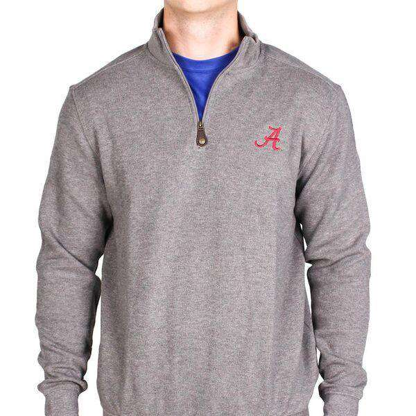Men's Pullovers - University Of Alabama 1/4 Zip Pullover In Steel Grey By Southern Tide
