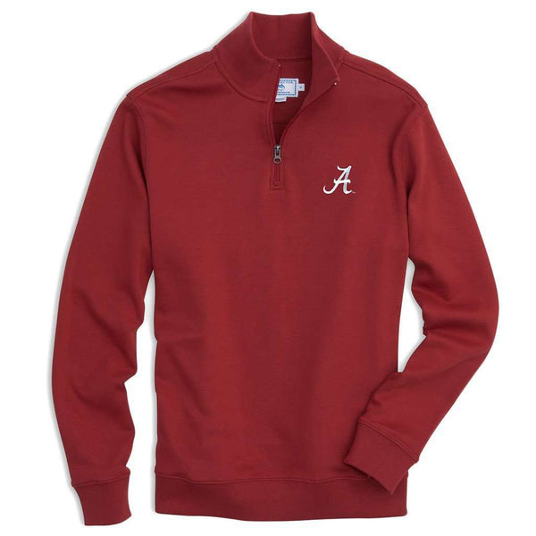 Men's Pullovers - University Of Alabama Gameday Skipjack 1/4 Zip Pullover In Crimson By Southern Tide