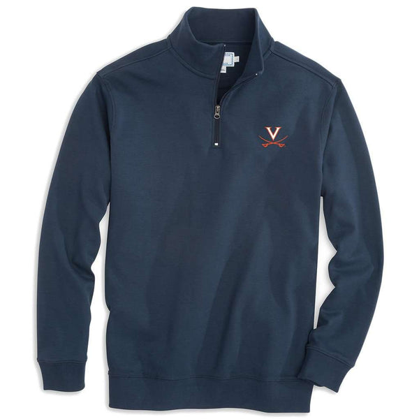 Men's Pullovers - University Of Virginia Gameday Skipjack 1/4 Zip Pullover In Navy By Southern Tide