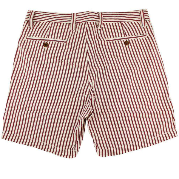 "7"" Seersucker Walking Short in Maroon and White by Olde School Brand - FINAL SALE"