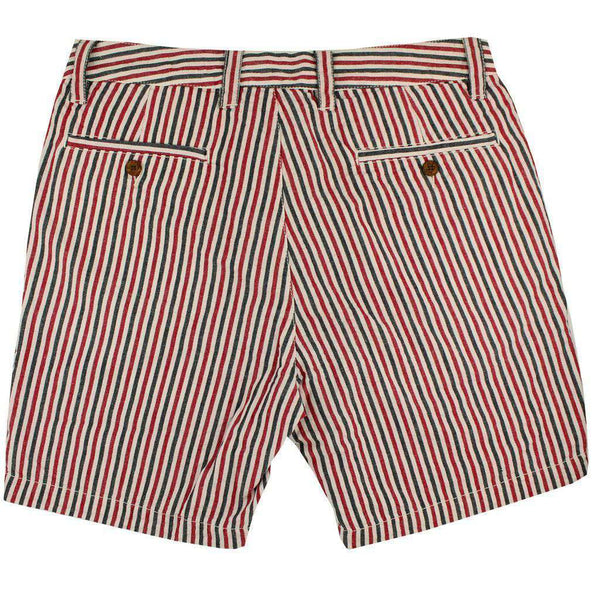 "7"" Seersucker Walking Shorts in Crimson and Black by Olde School Brand - FINAL SALE"