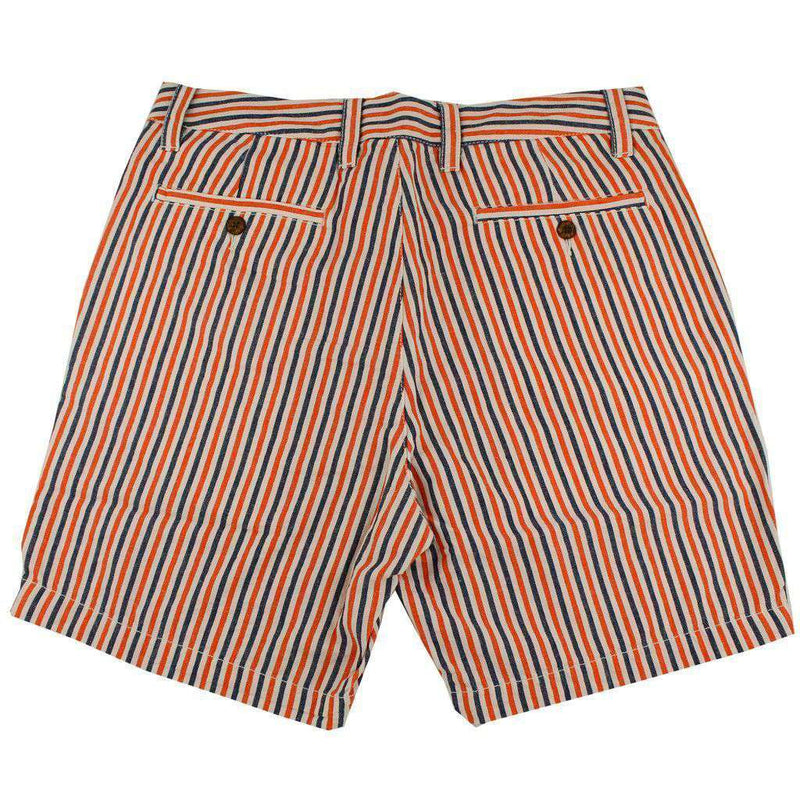 "Men's Shorts - 7"" Seersucker Walking Shorts In Orange And Navy By Olde School Brand - FINAL SALE"