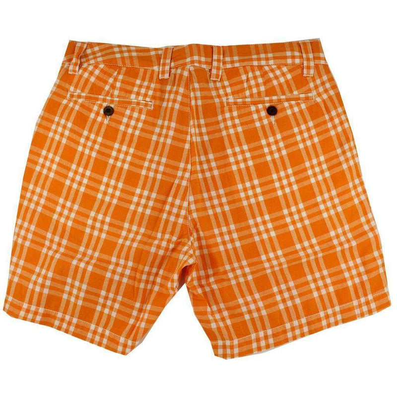 "Men's Shorts - 7"" Walking Shorts In Orange And White Madras By Olde School Brand - FINAL SALE"