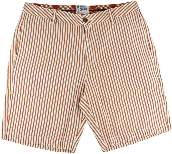 "9"" Seersucker Walking Shorts in Burnt Orange by Olde School Brand - FINAL SALE"