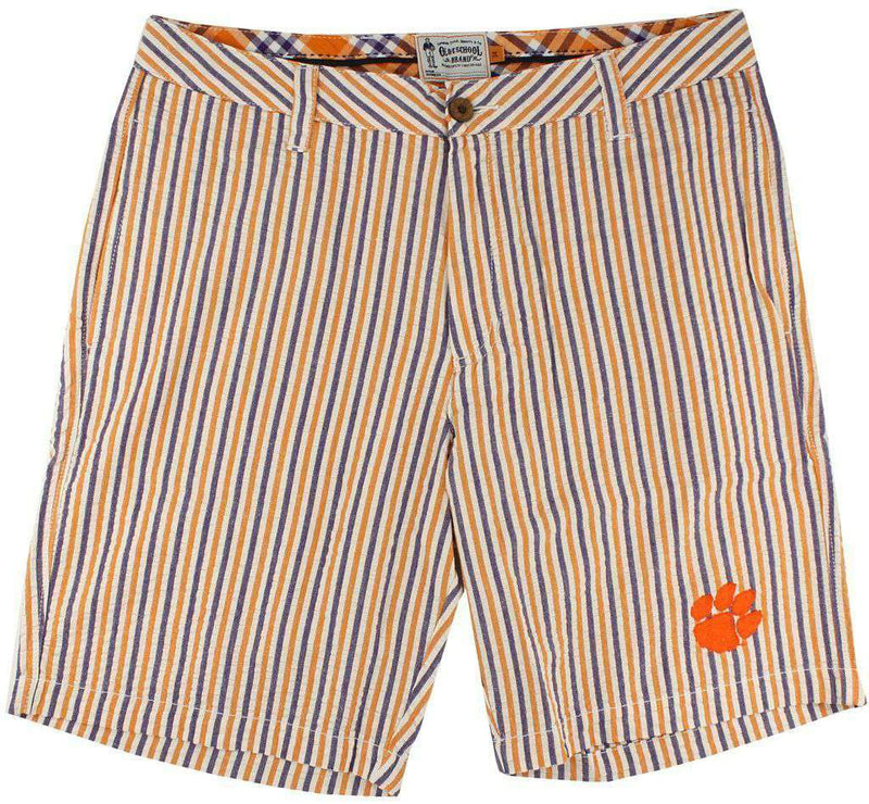 "Men's Shorts - 9"" Seersucker Walking Shorts In Orange And Purple By Olde School Brand - FINAL SALE"