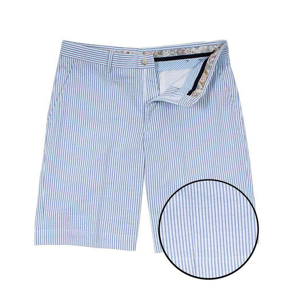 Men's Shorts - Blue Seersucker Shorts By Country Club Prep - FINAL SALE