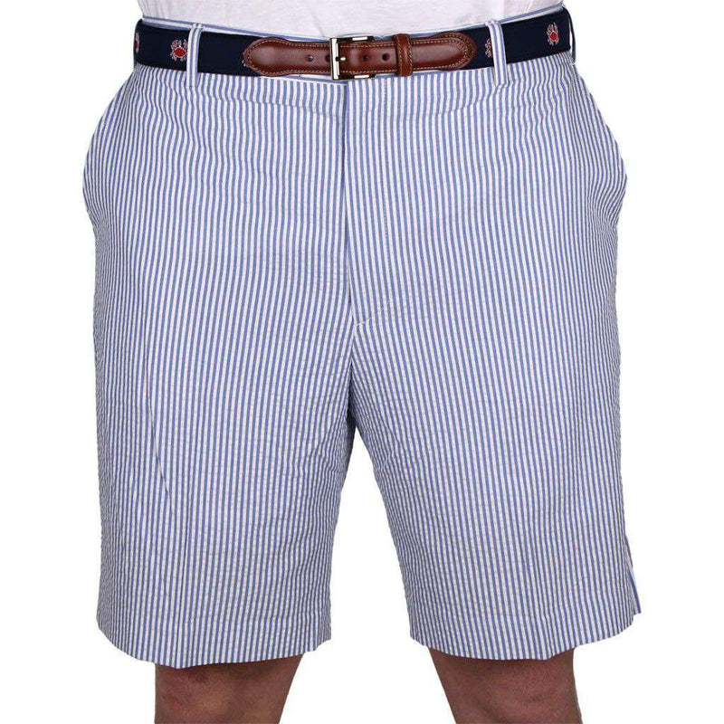 Blue Seersucker Shorts by Country Club Prep