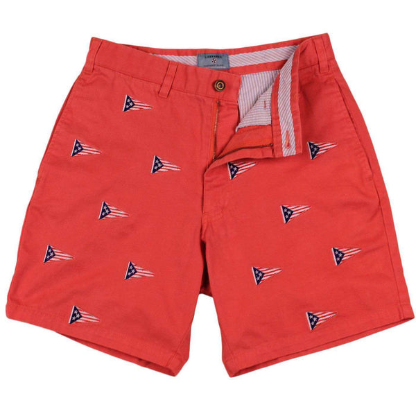 Men's Shorts - CCP Custom Mariner Short With Embroidered American Burgee In Red Dawn By Castaway Clothing - FINAL SALE