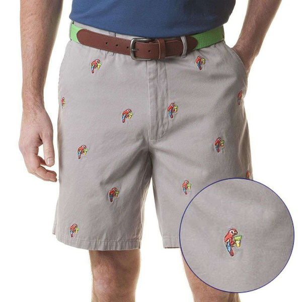 Cisco Short in Grey Mist with Embroidered Party Parrots by Castaway Clothing