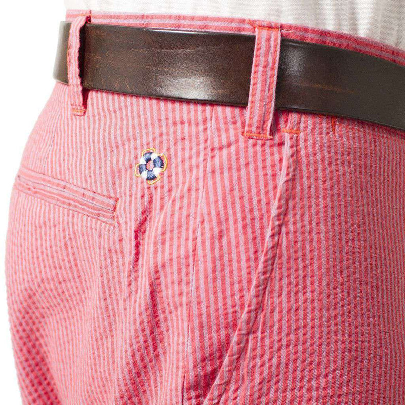 Cisco Short in Periwinkle Blue and Island Red Seersucker by Castaway Clothing - FINAL SALE