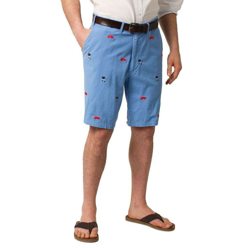 Cisco Short in Periwinkle Blue with Embroidered BBQ Motif by Castaway Clothing