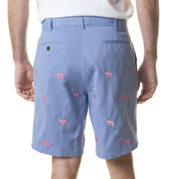 Cisco Short in Storm with Embroidered Pink Elephant Martinis by Castaway Clothing - FINAL SALE