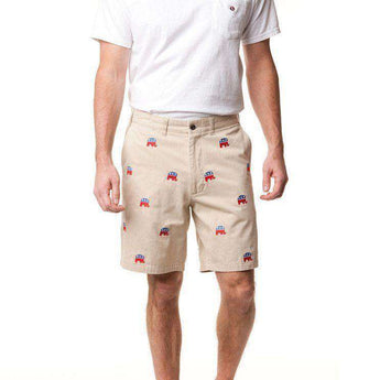Men's Shorts - Cisco Short In Tan W/ Embroidered Political Elephants By Castaway Clothing