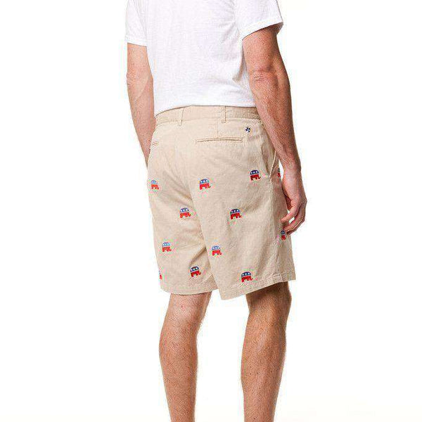 Cisco Short in Tan w/ Embroidered Political Elephants by Castaway Clothing
