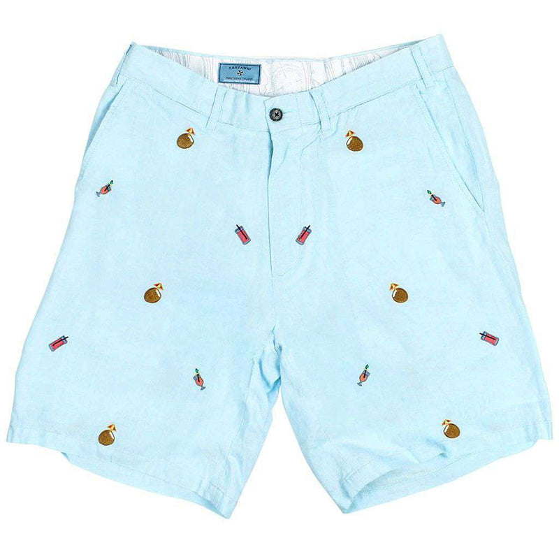 Men's Shorts - Cisco Shorts In Antigua Linen With Embroidered Tropical Drinks By Castaway Clothing