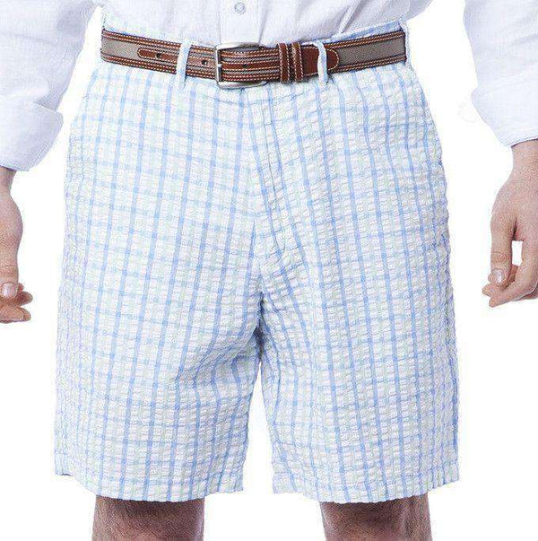 Cisco Shorts in Blue/Seafoam Gingham Seersucker by Castaway Clothing