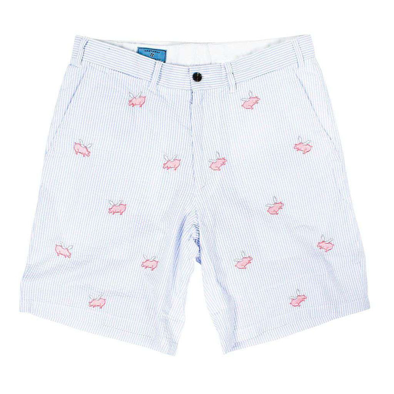 Men's Shorts - Cisco Shorts In Blue Seersucker With Embroidered Flying Pig By Castaway Clothing