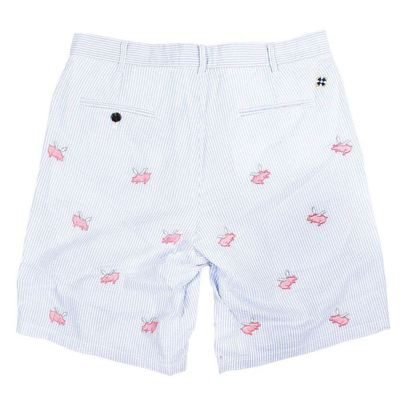Cisco Shorts in Blue Seersucker with Embroidered Flying Pig by Castaway Clothing