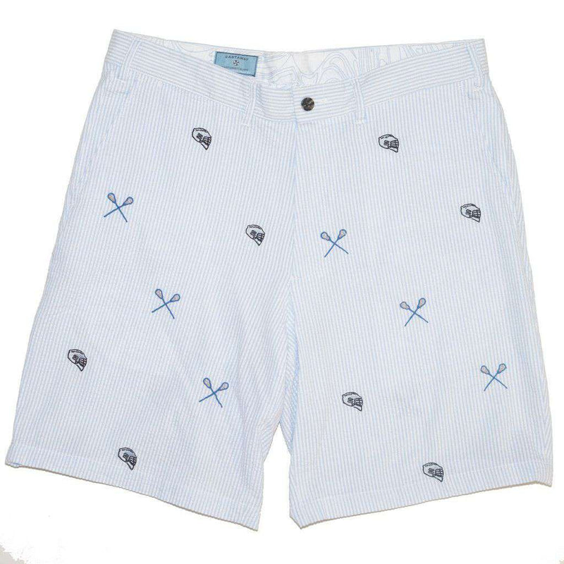 Men's Shorts - Cisco Shorts In Blue Seersucker With Embroidered Lacrosse Stick & Helmet By Castaway Clothing - FINAL SALE
