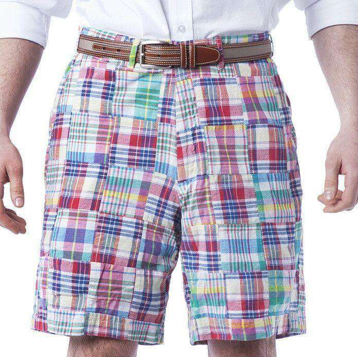 Men's Shorts - Cisco Shorts In Columbus Patch Madras By Castaway Clothing