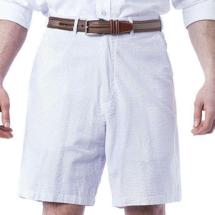 Men's Shorts - Cisco Shorts In Lilac Seersucker By Castaway Clothing