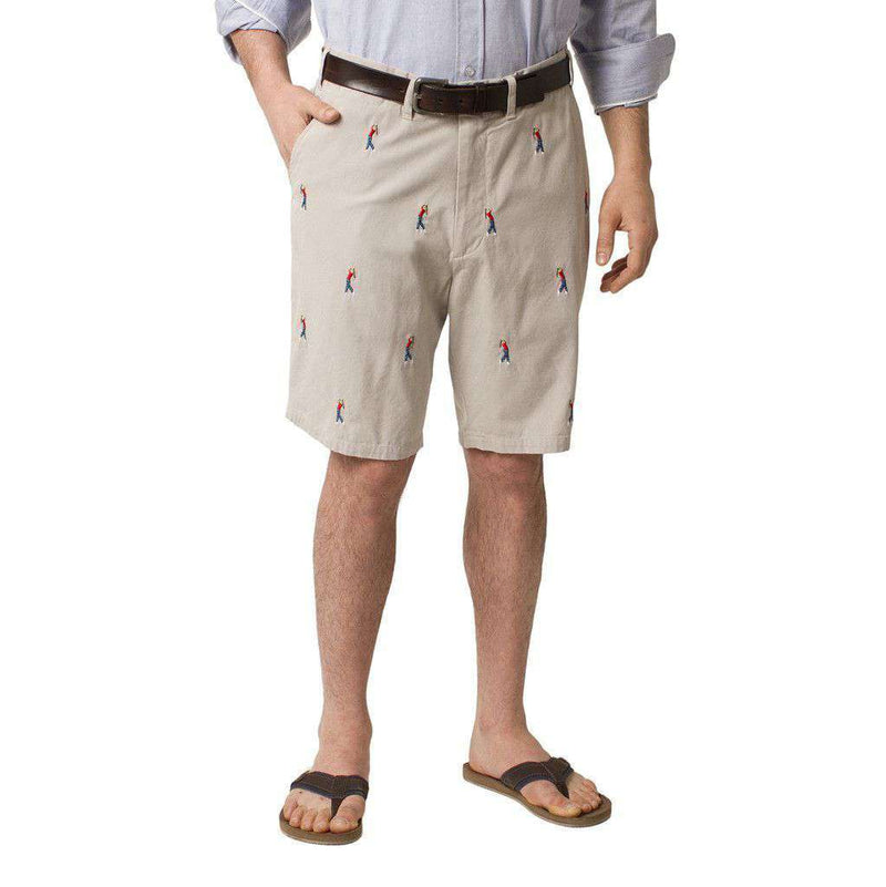 Men's Shorts - Cisco Shorts In Stone With Embroidered Golfer By Castaway Clothing