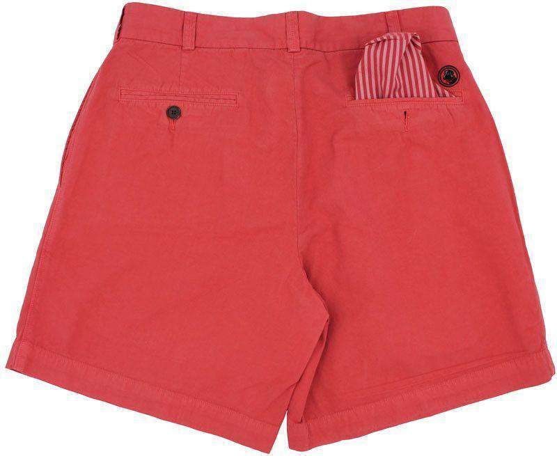 Men's Shorts - Club Short In Washed Red By Southern Proper - FINAL SALE