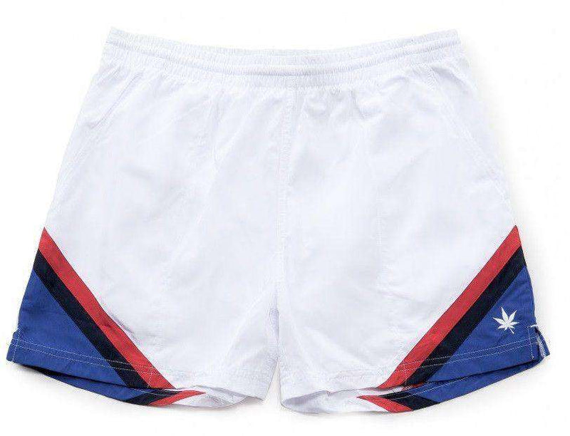 Men's Shorts - Corner Panel Match Shorts In White By Boast - FINAL SALE