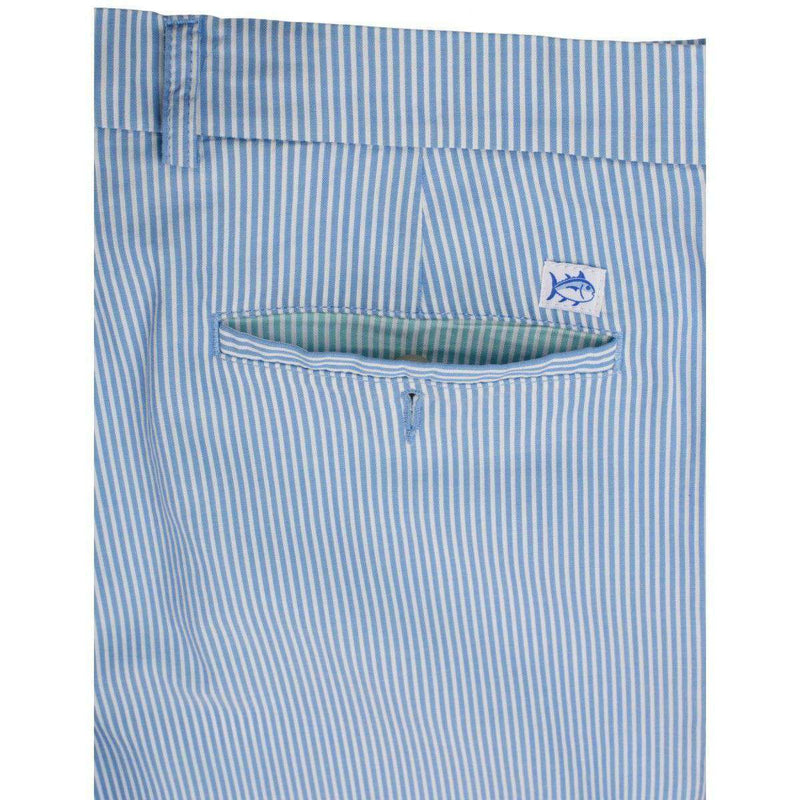 Double-Sided Seersucker Shorts in Ocean Channel Blue by Southern Tide
